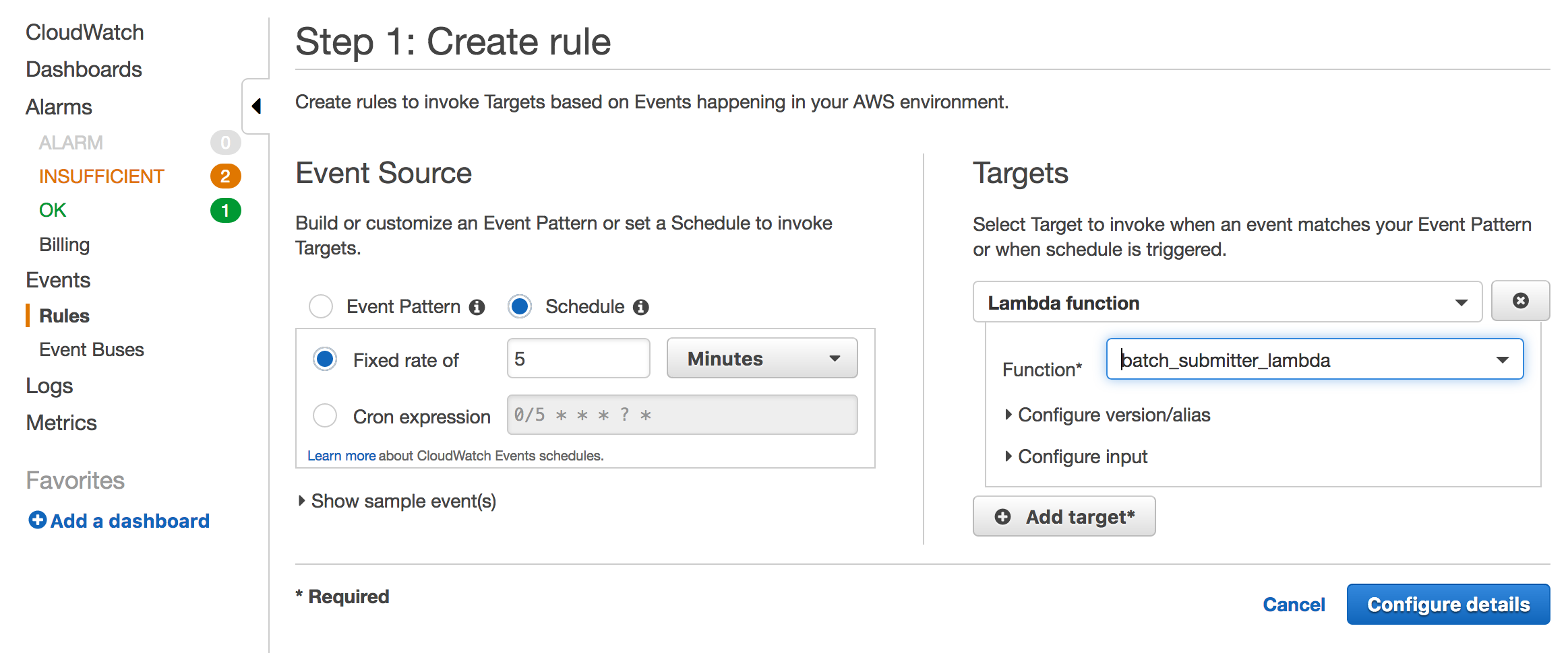 Run tasks with AWS Fargate and Lambda