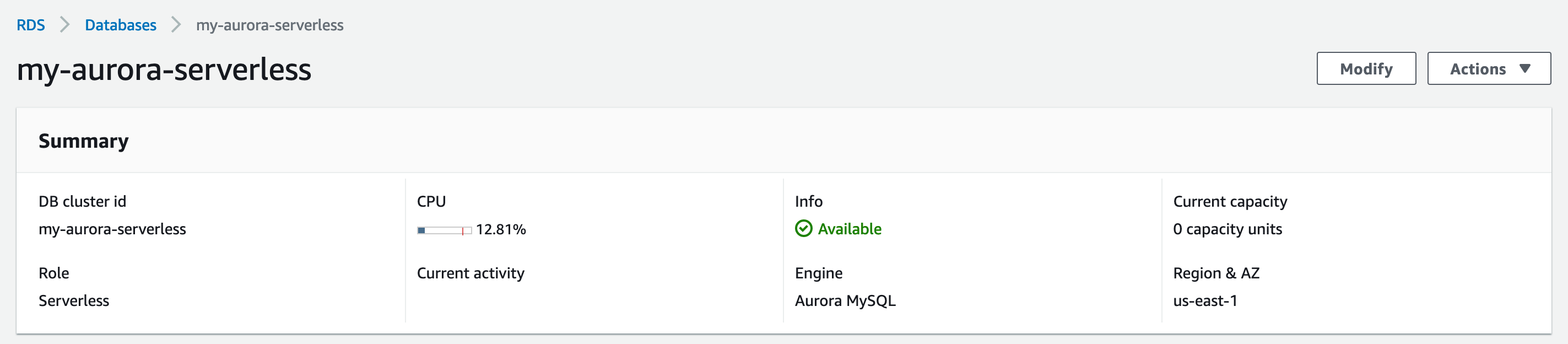 Up and running with Aurora Serverless